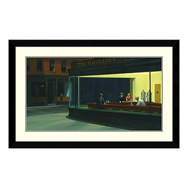 Amanti Art – Reproduction encadrée de « Nighthawks, 1942 » par Edward Hopper, 43 x 27 po (DSW113641)