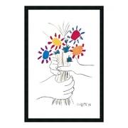 """Amanti Art Framed Art Print Hands with Bouquet (Fleurs et Mains) by Pablo Picasso, 26"""" x 38"""" (DSW01613)"""