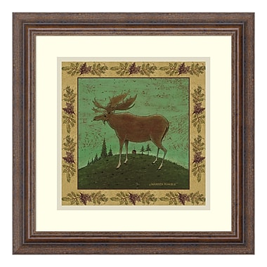 Amanti Art – Reproduction encadrée de « Folk Moose » par Warren Kimble, 16 x 16 po (DSW347632)