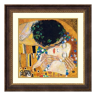 Amanti Art – Reproduction encadrée de « The Kiss (Der Kuss), detail 1 » par Gustav Klimt, 29 x 29 po (DSW177501)