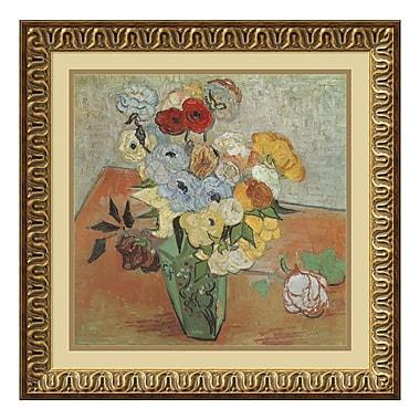 Amanti Art – Imprimé encadré « Roses et anémones » par Vincent Van Gogh, 22 x 22 po (DSW01254)