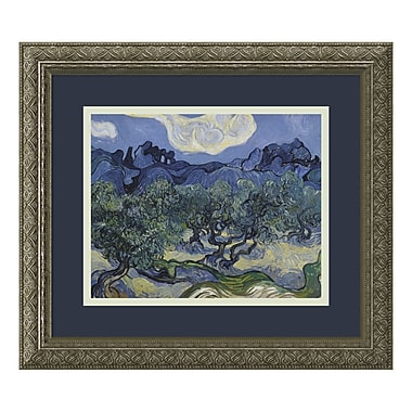 Amanti Art – Imprimé encadré « Olive Trees with Alpilles in Background », 1889, par Vincent Van Gogh, 16 x 14 po (DSW01091)