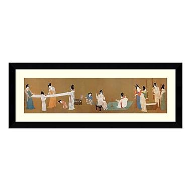 Amanti Art – Imprimé encadré Court Ladies Preparing Newly Woven Silk (detail) par l'Empereur Huizong, 45 x 17 po (DSW575095)