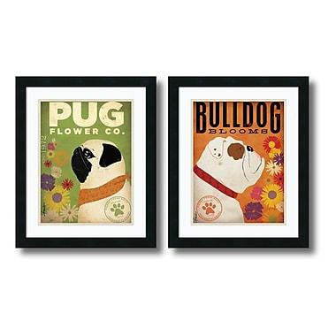 Amanti Art – Imprimé encadré Pug and Bulldog Florals par Stephen Fowler, 18 x 22 po, 2/paquet (DSW950766)