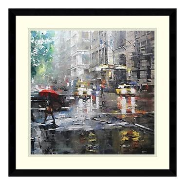 Amanti Art Framed Art Print 'Manhattan Red Umbrella' by Mark Lague, 21