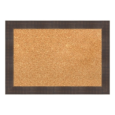 Amanti Art Framed Cork Board Small, Whiskey Brown Rustic, 21