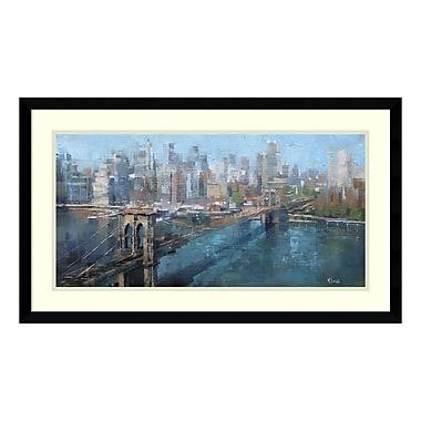Amanti Art – Imprimé encadré « Pont de Brooklyn (couleur) », Mark Lague, 29 x 17 po (DSW3894357)