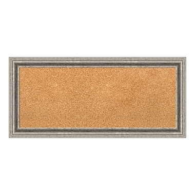Amanti Art Framed Cork Board Panel, Bel Volto Silver, 33