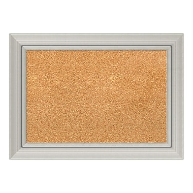 Amanti Art Framed Cork Board Small, Romano Silver, 22