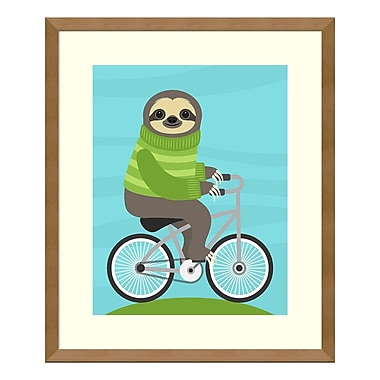 Amanti Art Framed Art Print 'Cycling Sloth' by Nancy Lee, 16