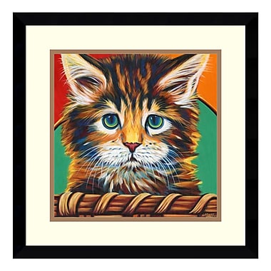 Amanti Art Framed Art Print 'Kitten in Basket I' by Carolee Vitaletti, 17