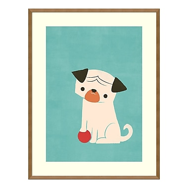 Amanti Art Framed Art Print 'My Red Ball (Pug)' by Jay Fleck, 27