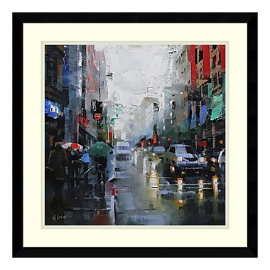 Amanti Art Framed Art Print 'St. Catherine Street Rain' by Mark Lague, 21