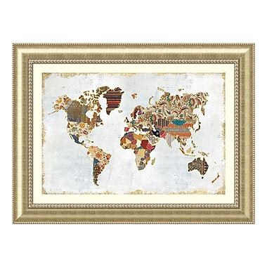 Amanti Art Framed Art Print 'Pattern World Map' by Laura Marshall, 47