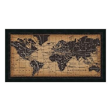 Amanti Art – Impression encadrée « Carte du monde ancienne » par Pela Studio, 42 x 22 po (DSW3909705)