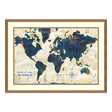 Amanti Art – Imprimé encadré, « World Map Collage » par Sue Schlabach, 29 x 21 po (DSW3909713)