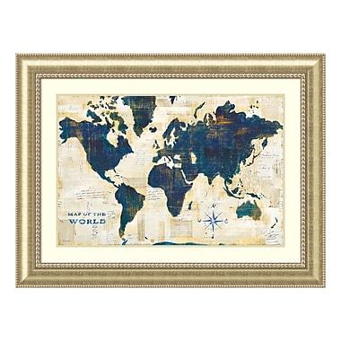 Amanti Art Framed Art Print 'World Map Collage' by Sue Schlabach, 49