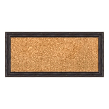 Amanti Art Framed Cork Board Panel, Rustic Pine, 33