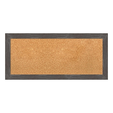 Amanti Art Framed Cork Board Panel, Woodridge Rustic Grey, 33