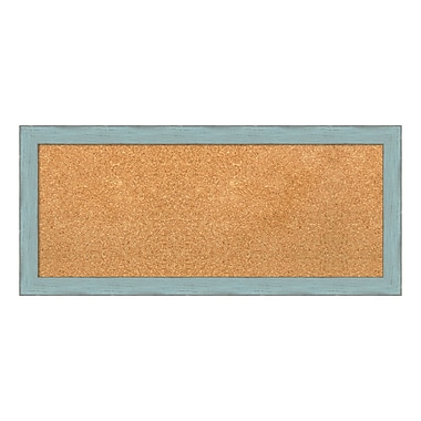 Amanti Art Framed Cork Board Panel, Sky Blue Rustic, 33