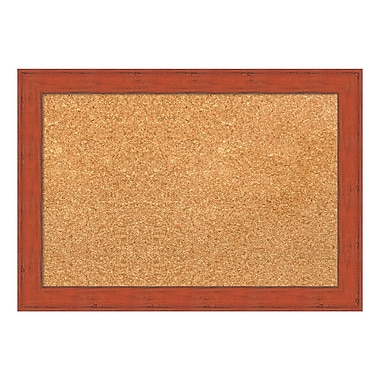 Amanti Art Framed Cork Board Small, Bourbon Orange Rustic, 20
