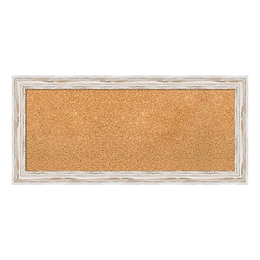 Amanti Art Framed Cork Board Panel, Alexandria White Wash, 34