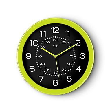 CEP ? Horloge de 12 po de diamètre, cadran noir et cadre anis