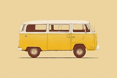 East Urban Home 'Yellow Van' Graphic Art on Wrapped Canvas; 26'' H x 40'' W x 0.75'' D