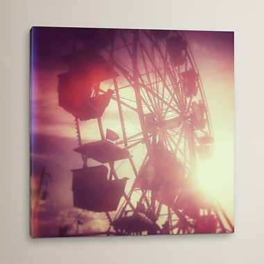 East Urban Home 'Pink Ferris Wheel' Photographic Print on Wrapped Canvas; 18'' H x 18'' W x 0.75'' D
