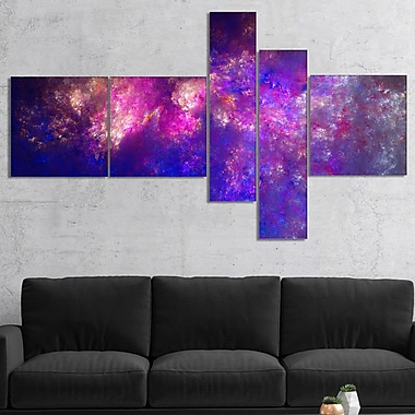 East Urban Home 'Clear Purple Starry Fractal Sky' Print Multi-Piece Image on Canvas