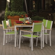 Latitude Run Farmington 7 Piece Powder Coated Aluminum Frame Dining Set; Natural Tekwood