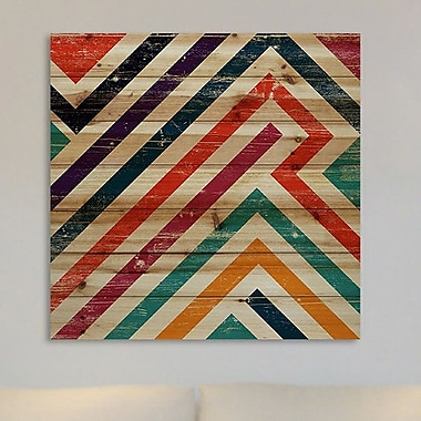 Marmont Hill 'Paths of Color' Painting Print on Natural Pine Wood; 18'' H x 18'' W