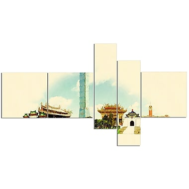 East Urban Home 'Taipei Panoramic View' Watercolor Painting Print Multi-Piece Image on Canvas