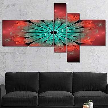 East Urban Home 'Fractal Blooming Blue Red Flower' Graphic Art Print Multi-Piece Image on Canvas