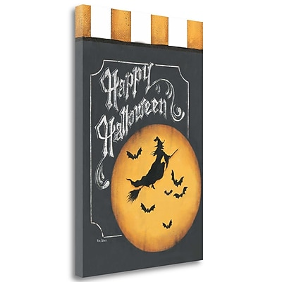 Tangletown Fine Art Happy Halloween Flag' Graphic Art Print on Canvas; 36'' H x 24'' W