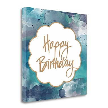 Tangletown Fine Art 'Watercolor Birthday' Textual Art on Wrapped Canvas; 24'' H x 24'' W