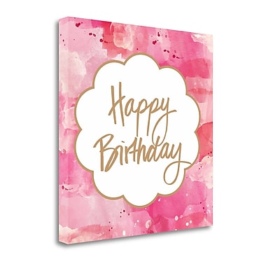 Tangletown Fine Art 'Watercolor Birthday' Textual Art on Canvas in Pink; 20'' H x 20'' W