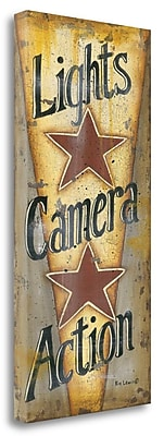 Tangletown Fine Art 'Lights-Camera-Action' Textual Art on Canvas; 48'' H x 23'' W