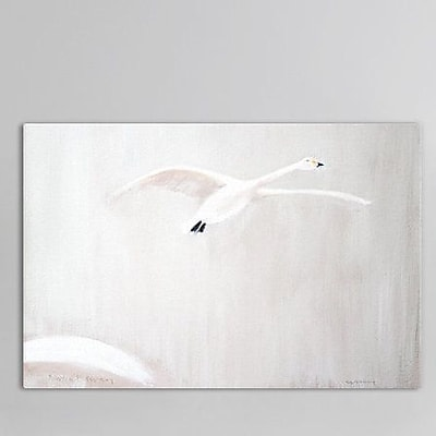 East Urban Home Bewick's Swan Painting Print on Wrapped Canvas; 18'' H x 26'' W x 0.75'' D