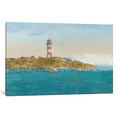East Urban Home Lighthouse Seascape I Crop II Painting Print on Wrapped Canvas