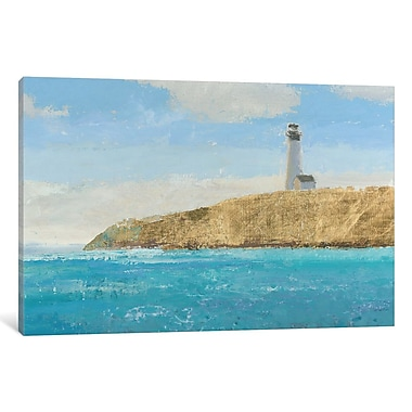 East Urban Home Lighthouse Seascape II Crop II Painting Print on Wrapped Canvas