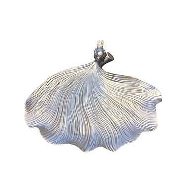Astoria Grand Abstract Resin Leaf Decorative Plate; Silver