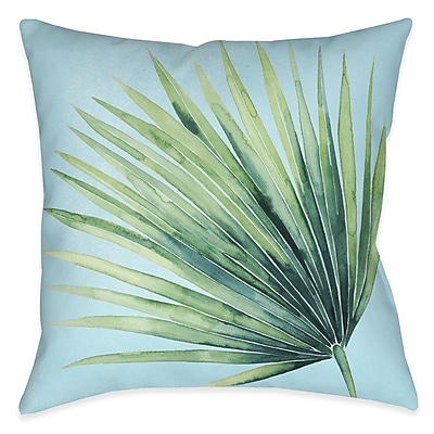 Bayou Breeze Elle Tropical Palm Tree Leaves II Outdoor Throw Pillow; 18'' x 18''
