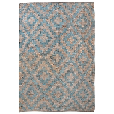 Bungalow Rose Cleaver Hand-Woven Teal Area Rug; 5' x 8'