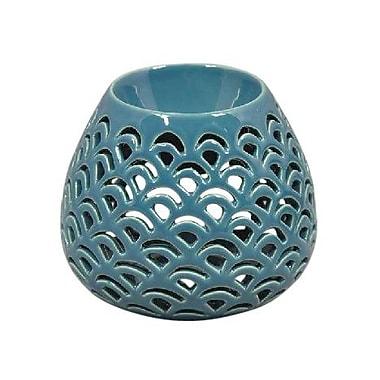 Bungalow Rose Modern Decorative Double Wave Bulb Oil Burner Ceramic Votive Holder; Blue
