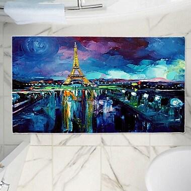 East Urban Home Aja Ann's Parisian Night Eiffel Tower Memory Foam Bath Rug; 24'' W x 36'' L