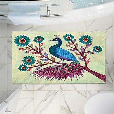 East Urban Home Peacock Memory Foam Bath Rug; 17'' W x 24'' L