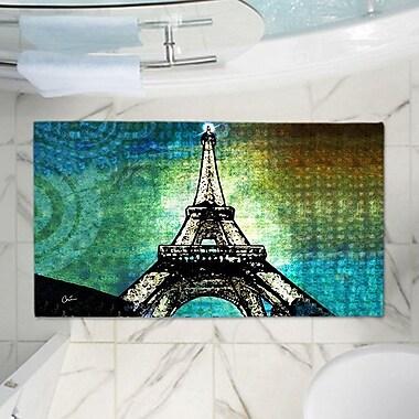 East Urban Home Corina Bakke's Eiffel Tower Memory Foam Bath Rug; 17'' W x 24'' L