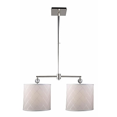 Everly Quinn Raisa Contemporary 2-Light Drum Pendant; Polished Nickel