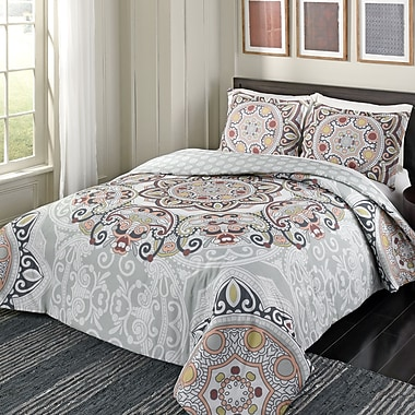 Bungalow Rose Dowland 100pct Cotton 3 Piece Reversible Comforter Set; Full/Queen